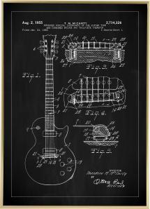 Patentritning - Elgitarr I - Svart