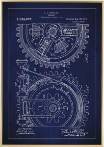 Patentritning - Kugghjul - Blå