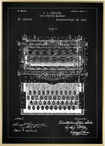 Patentritning - Skrivmaskin - Svart