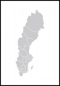 Sverigekarta Grå