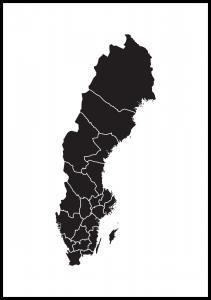 Sverigekarta Svart
