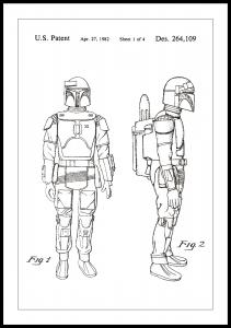 Patentritning - Star Wars - Boba Fett - Vit