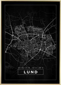 Karta - Lund - Svart