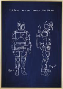 Patentritning - Star Wars - Boba Fett - Blå