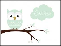 Owl Name Poster Light Green