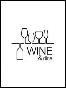 Wine & dine - Vit med svart tryck
