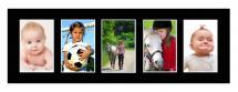 Passepartout Svart 20x60 cm - Collage 5 Bilder (9x14 cm)