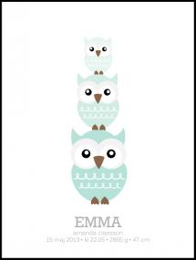 Owls Birth Poster II Green