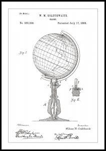 Patentritning - Jordglob - Vit