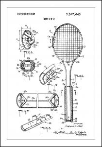 Patent Print - Tennis Racket - White