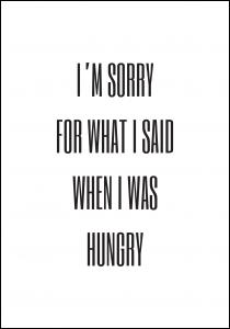 I'm sorry for what i said when was hungry