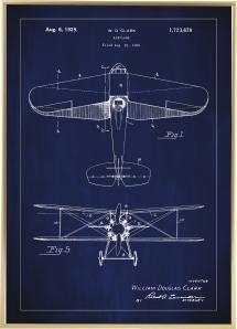 Patentritning - Flygplan - Blå