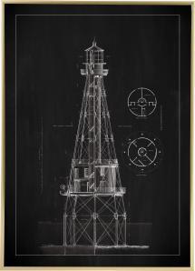 Griffeltavla - Fyr - Ship Shoal Lighthouse