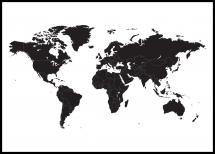 Världskarta - Poster - Svart - 21x29,7 cm (A4)