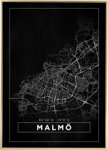 Karta - Malmö - Svart