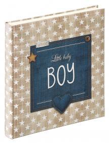 Little Babyalbum Boy Blå - 28x30,5 cm (50 Vita sidor / 25 blad)