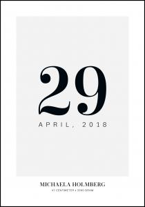Födelsetavla Datum - Grå