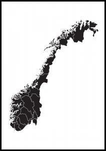 Karta - Norge - Svart