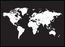 Världskarta Poster Vit Med Svart Bakgrund - 21x29,7 cm (A4)