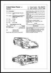 Patentritning - Ferrari F40 I