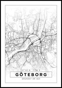 Karta - Göteborg - Vit