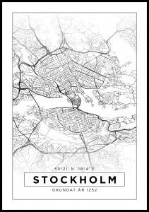 Karta - Stockholm - Vit - 13x18 cm