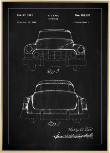 Patentritning - Cadillac II - Svart