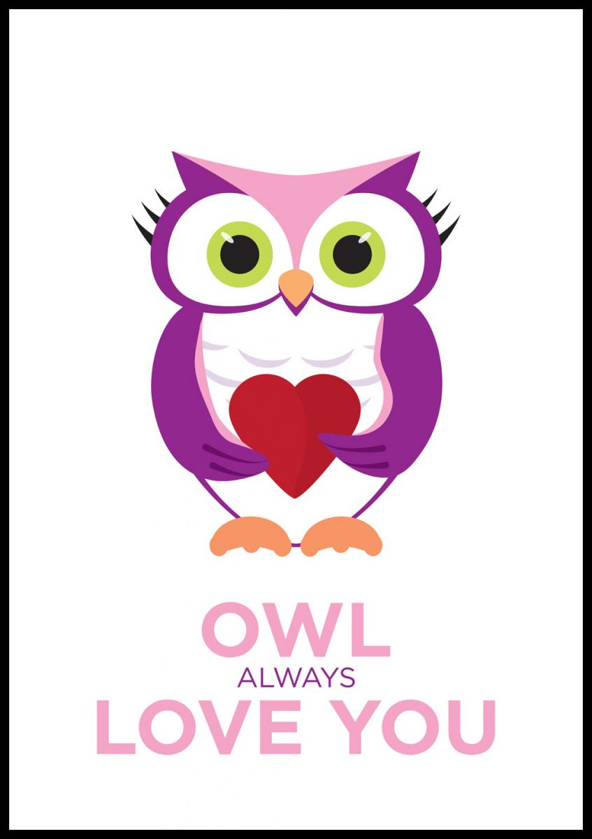 Owl Always Love you - Rosa-Lila - BGA Fotobutik c7c71a466f0e3