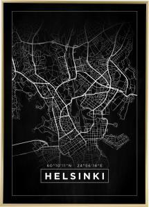Karta - Helsinki - Svart