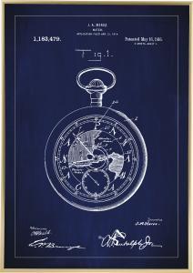 Patentritning - Fickur - Blå