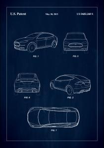 Patent Print - Tesla - Blue