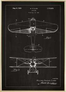 Patentritning - Flygplan - Svart