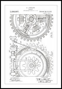 Patentritning - Kugghjul - Vit