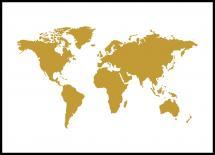 Världskarta Guld