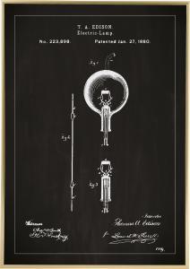 Patentritning - Glödlampa B - Svart