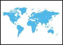 Världskarta Poster Blå - 21x29,7 cm (A4)