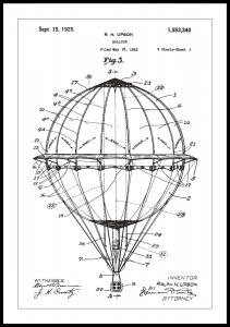 Patentritning - Luftballong - Vit
