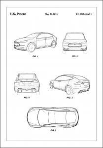 Patent Print - Tesla - White