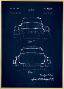 Patentritning - Cadillac II - Blå