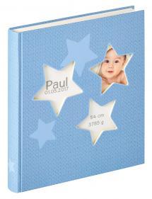 Estrella Babyalbum Blå - 28x30,5 cm (50 Vita sidor / 25 blad)