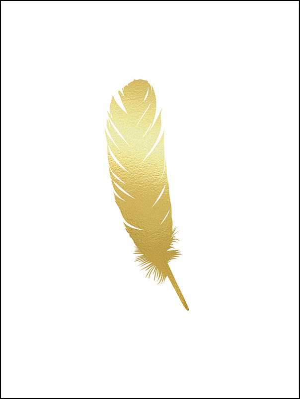 Gold feather - 30x40 cm
