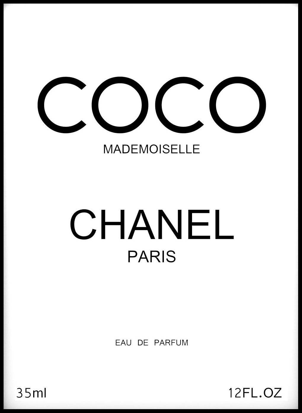 coco chanel paris black 50x70 cm bga fotobutik. Black Bedroom Furniture Sets. Home Design Ideas