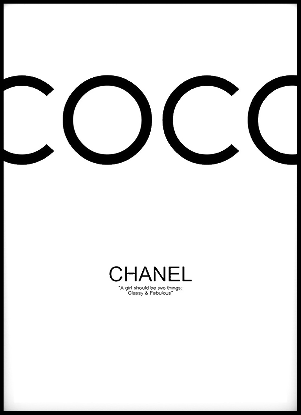 coco chanel black 50x70 cm bga fotobutik. Black Bedroom Furniture Sets. Home Design Ideas