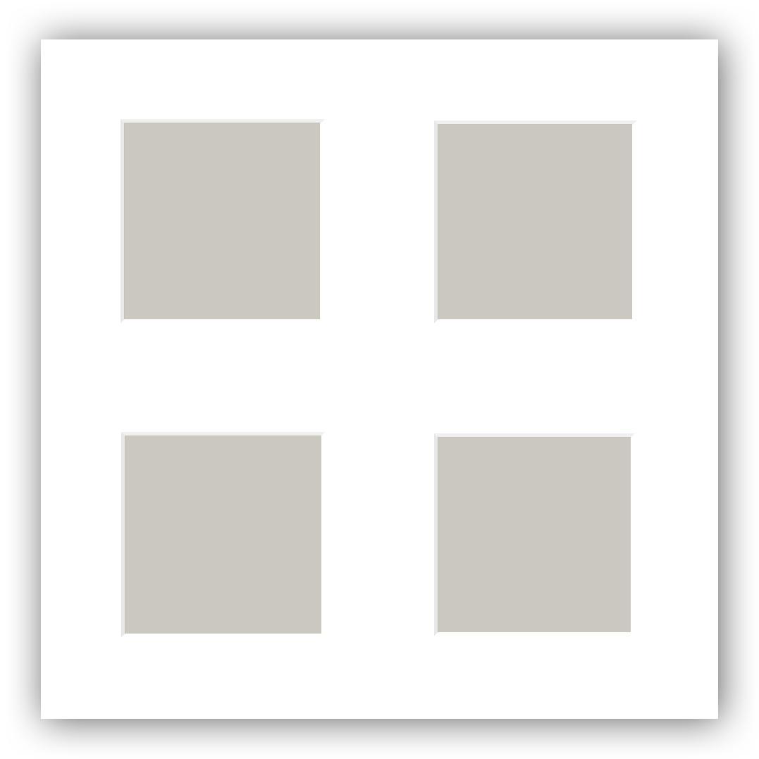 passepartout vit 10x10 cm collage 4 bilder 3x3 cm bga fotobutik. Black Bedroom Furniture Sets. Home Design Ideas