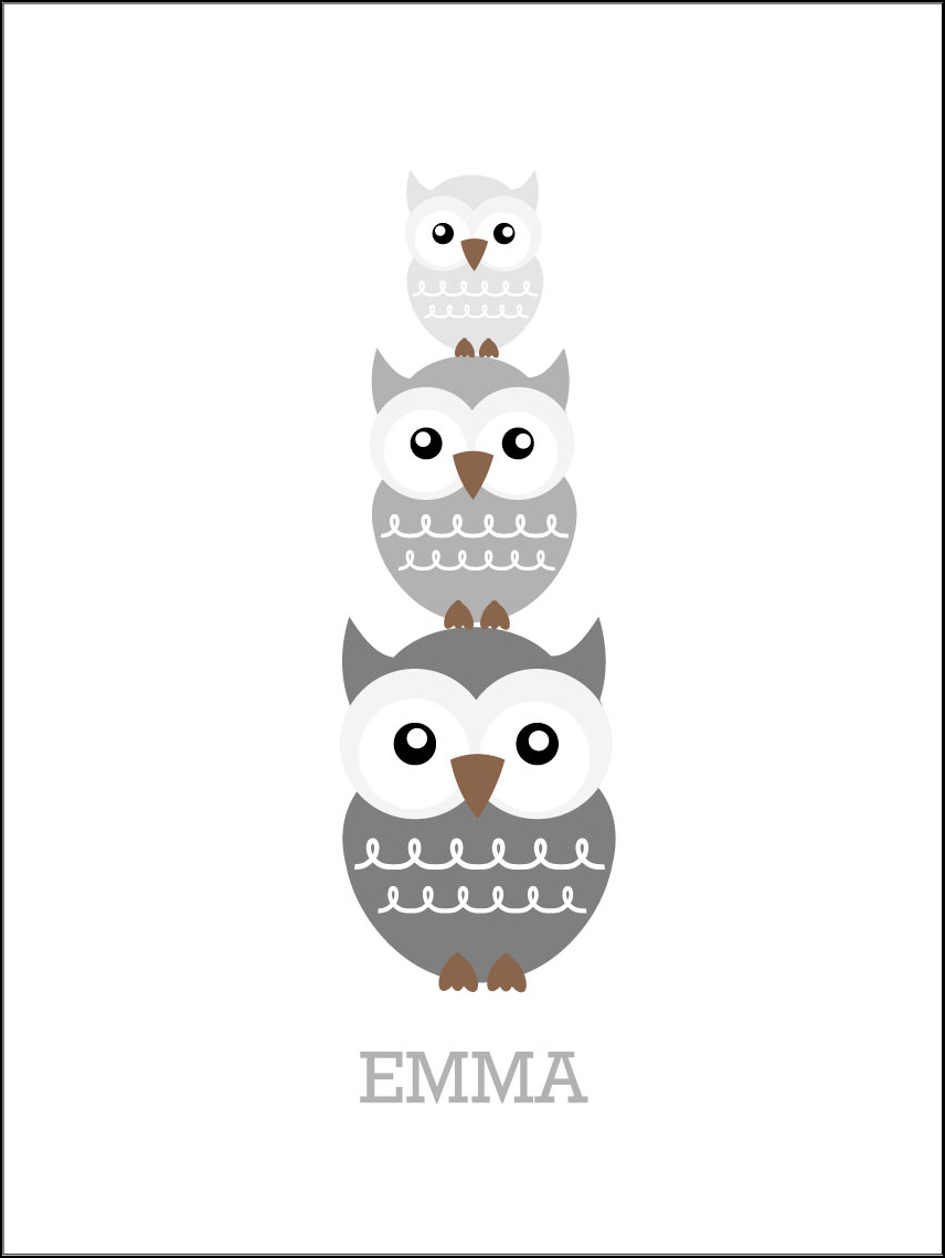 Owls Birth Poster Grey