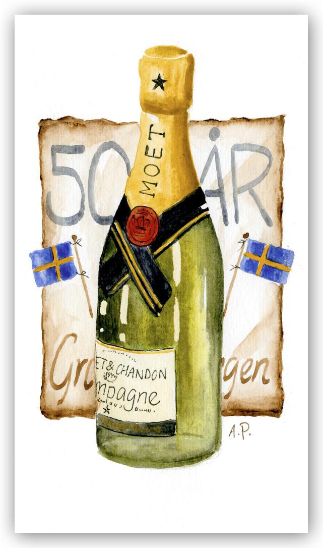 50 års gratulationskort Gratulationskort 50 år champagne   Motivnummer 059   BGA Fotobutik 50 års gratulationskort