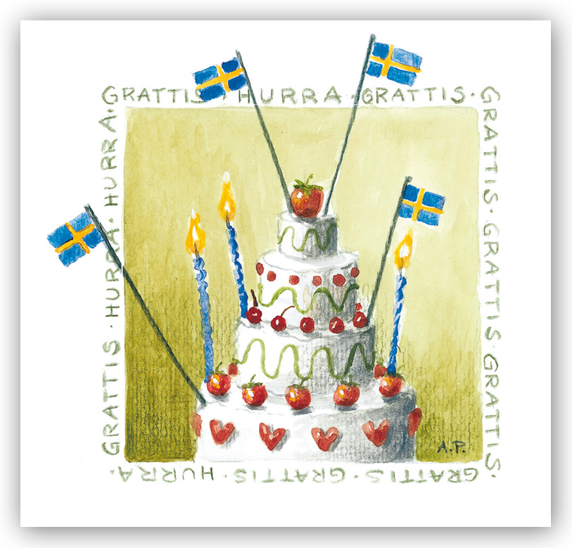 tårta grattis Gratulationskort Grattis tårta i våningar   Motivnummer 1003   BGA  tårta grattis