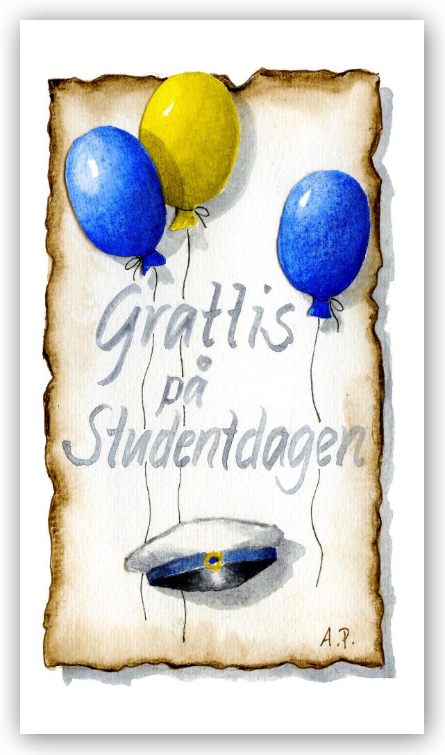 gratulationer på studentdagen Gratulationskort Grattis på studentdagen   Motivnummer 125   BGA  gratulationer på studentdagen