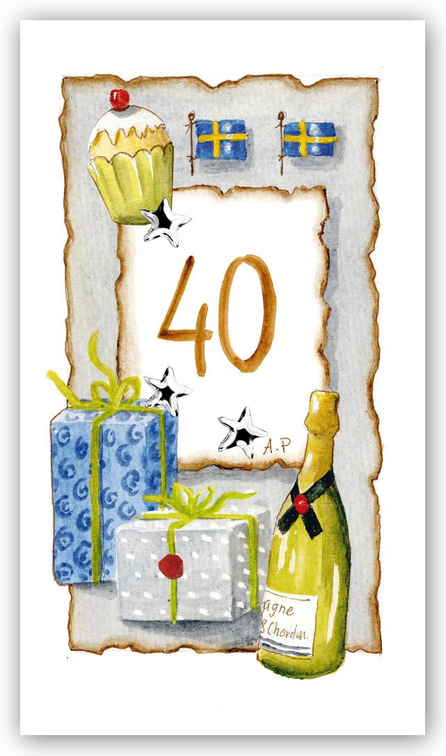40 års gratulationskort Gratulationskort Årskort 40 år   Motivnummer 40   BGA Fotobutik 40 års gratulationskort