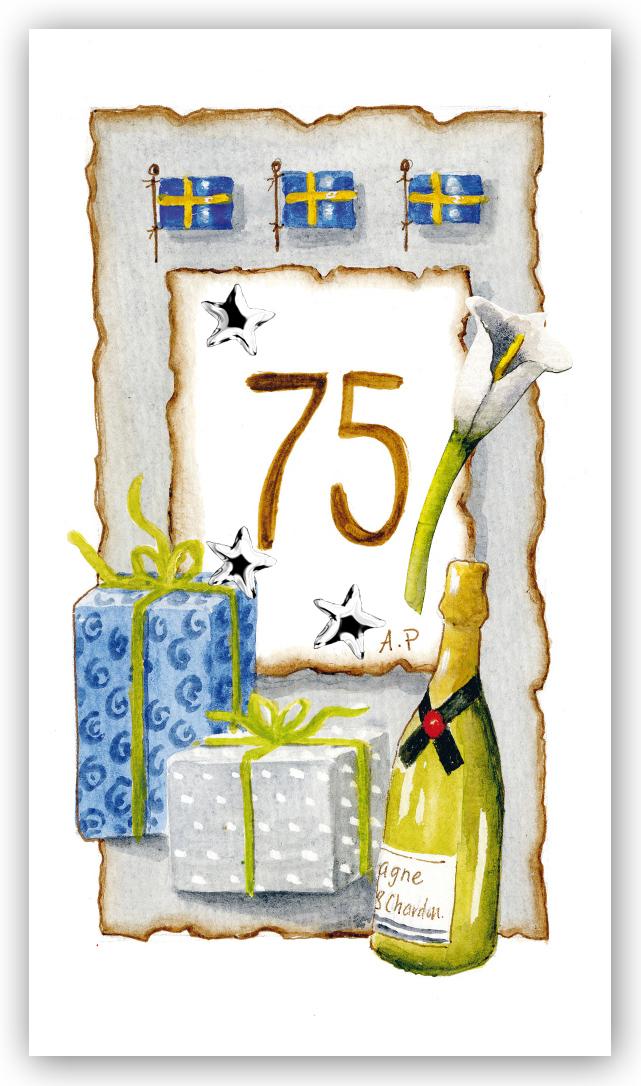 grattis på 75 årsdagen Gratulationskort Årskort 75 år   Motivnummer 75   BGA Fotobutik grattis på 75 årsdagen